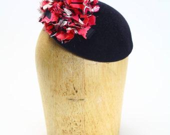Black Velour Fur Felt Fascinator Cocktail Hat with Pink and Black Silk Detail- Millinery/Couture/KateMiddleton/Wedding