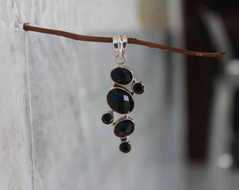 925 Sterling Silver Pendant Set with Natural Black Onyx Gemstones, Gemstone Pendant