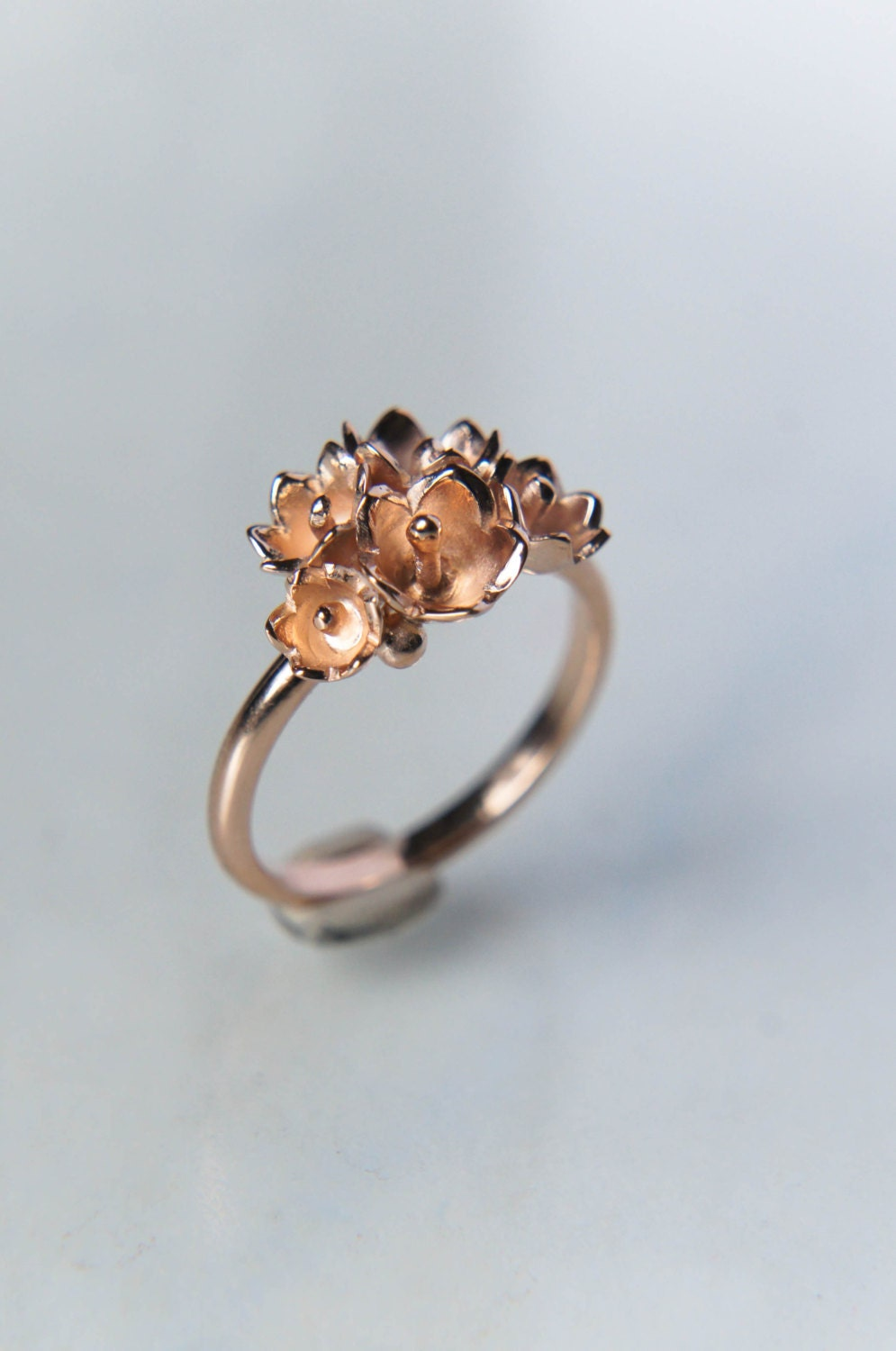 flower vintage ring delicate ct diamond unique leaf engagement gold rose rings media lily deco art