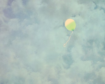 Balloon Photo - 8x10 photograph  - fine art print - vintage photography - whimsical nursery art  - balloon art - clouds