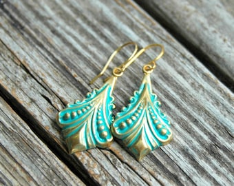 Mint Gold Earrings . Best Friend Birthday Gift . Mothers Day Gift . Bohemian Earrings . Dangle Earrings . Boho Jewelry . Gift for Mom