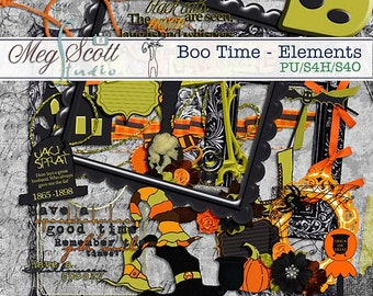 Boo Time - Digital Commercial use Card making Scrapbook Elements * Printable, Instant Download