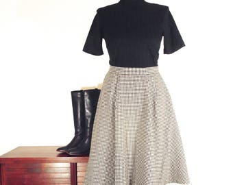 Vintage Black & White Circle Skirt, Wool Houndstooth, Size 2-4/XS
