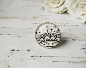 Unique jewelry White ring Statement ring Black and white jewelry Mandala Ring Lace ring for women Large round ring for her mothers day