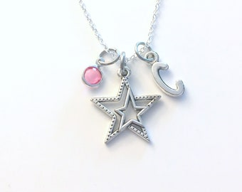 Star Necklace, Athlete Jewelry, Silver Double Starry Charm, Personalized Gift for Teenager Girl Teenage Daughter Niece Granddaughter her boy