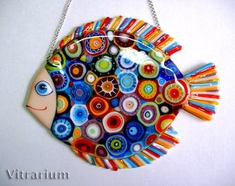 "Fused Glass Wall Art, Fused Glass Art, Glass Art, Abstract Fused Glass Art Panel, ""Cosmic Fish"""