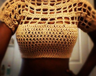 Crochet crop top boho hippie Flirty summer crochet pattern Size small