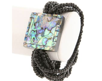 Abalone Bracelet, Beaded Bracelet,  Abalone Square Pendant Bracelet