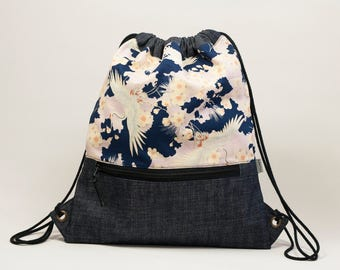 Cycling backpack. Japanese print bag. Cherry blossom print. Drawstring backpack. Small backpack