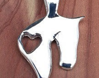 JM627SS Sterling Silver Horse Head with Heart Cut Out