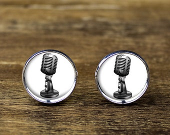 Microphone cufflinks, Retro Microphone cufflinks, Microphone jewelry
