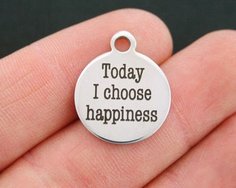 Happiness Stainless Steel Charm - Today I Choose Happiness - Exclusive Line - Quantity Options - BFS393