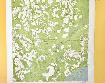 Vintage Wall Map Large. Lakes, Rivers, Parks, Cemeteries, Churches. 1950s. USGS Georgia-Florida Calvary Quadrangle.