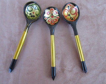 Vintage Wooden Spoons, Painted Lacquer Wood Spoons, Folk Art