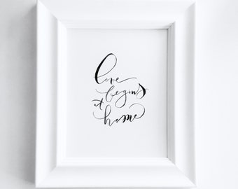 "Hand Lettered 8x10 Print ""Love Begins At Home"" - FRAMED"