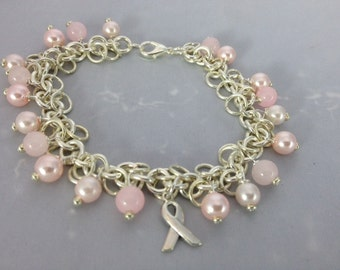 BUY Any  2 Bracelets, GET 1 FREE. (See Shop Announcement)   Light Pink Glass Pearl and Glass Bead Charm Bracelet with Silver Awareness Charm