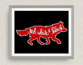 Wolf print, North Carolina Art Print, Red, White, Black