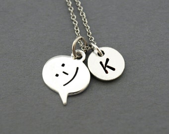 Smiling Emoticon necklace, Smiley, Smiling face, happy face, initial necklace, initial hand stamped, personalized, antique silver, monogram