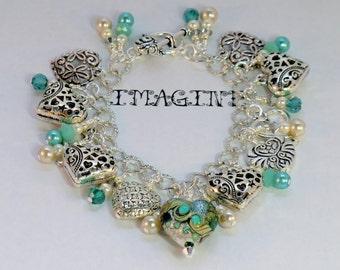 SALE! Green and silver heart charm cha cha bracelet, boho chic mint green aqua silver, gypsy sparkling lampwork, pearl charm dangles