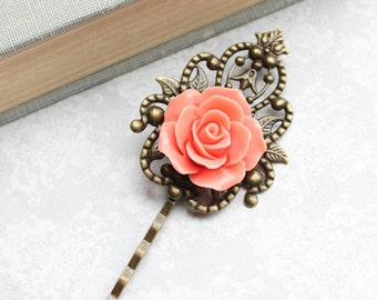 Bridal Hair Pins Coral Rose Bobby Pins Vintage Style Bridesmaid Gift Romantic Antique Brass Filigree Colorful Spring Wedding Roses for Hair