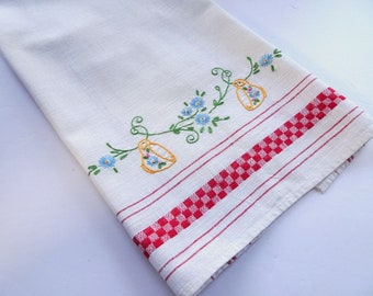 Embroidered vintage kitchen towel