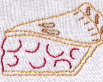 Pie Hand Embroidery Pattern, Cherry Pie, Slice, Dessert, PDF