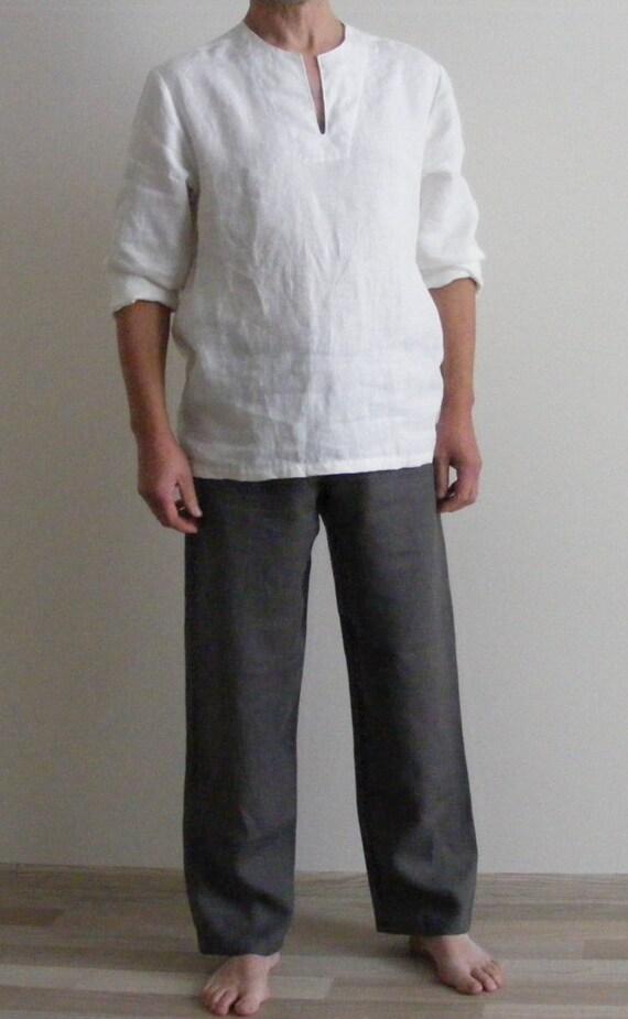 Mens Linen Lounge Pants. Weekend Linen Pants Yoga pants Pajamas pants Drawstring Pants Pyjamahose / Sleepwear / Homewear / itcD54rE1