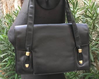 Vintage years ' 70 black leather handbag