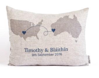 Rustic Long Distance Relationship Pillow, Linen Anniversary, Gift for Him, Gift For Her, Linen Pillows, Map Pillows, Home Decor