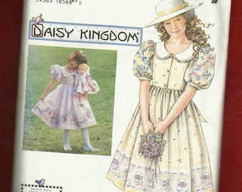 Simplicity 7005 Daisy Kingdom Dress for Little Girls & Matching Doll Dress Too Sizes 3 to 6 UNCUT