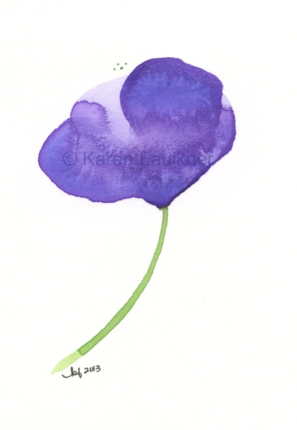 Watercolor Flower Print Of A Single Purple Summer Breeze