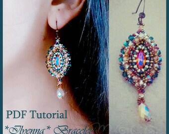 DIY Photo Tutorial Eng-ITA ,*Ilyenna* earrings ,PDF Pattern 65 with  swarovski ,seed beads,gouttes