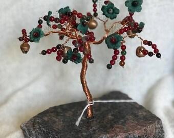Wire Tree - Prosper Tree - Red/Purple/Black  Gems and green flowers - Copper Wire Tree Sculpture