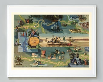 The Adventures of Huckleberry Finn Map Print, Story by Mark Twain, Pictorial Map, 1959, Edward Everett Henry, Museum Quality Print