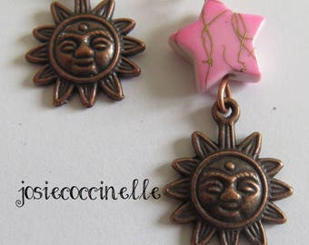 Earrings Sun and the pink star by JosieCoccinelle