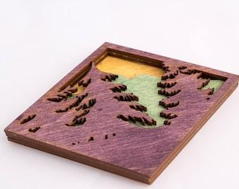 Wood Magent  - Mountain Silhouette - Mountain Art - Souvenir - Mountain Souvenir - Mountain Magnet - Denver Gift - Rocky Mountains