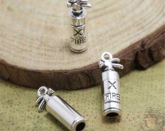15pcs Fire Extinguisher Charms Silver tone 3D Fire Extinguisher charm pendants 23x8mm ASD0706