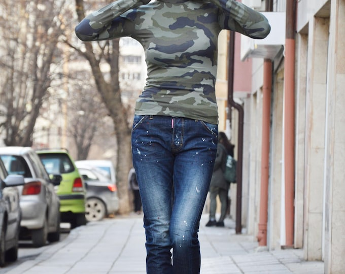 Camouflage Turtleneck Top, Long Sleeve Oversize Polo, Casual Maxi Blouse by SSDfashion