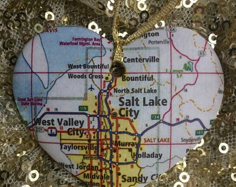 Salt Lake City Map Ornament