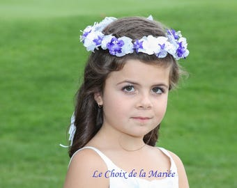 Flower girl headpiece, Bridal hairpiece, Purple halo, Bridal flowers hairpiece, Flower crown, Head wreath, Forehead, Boho Purple headband