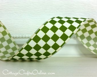 "Wired Ribbon, 1 1/2"", Moss Green Ivory Mini Check - TEN YARD ROLL - ""Checkerboard Green"" Plaid Spring, Fall, Christmas Wire Edged Ribbon"