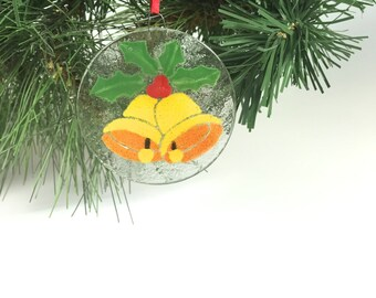 Christmas Bells Ornament, Fused Glass Ornament, Bells, Christmas Gift, Holiday Decor
