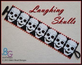 LAUGHING SKULLS Peyote Cuff Bracelet Pattern