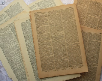 Vintage Dictionary 30 pages, dictionary ephemera, dictionary pages, encyclopedia pages