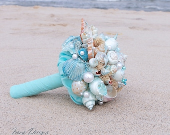 Seashells Bouquet. Blue Seashells Bouquet. Beach Wedding Seashells Bouquet. Beach wedding accessories