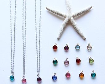 Birthstone Necklace, Silver or Gold Chain