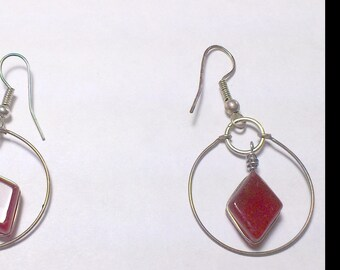 Creole Red Jasper Earrings