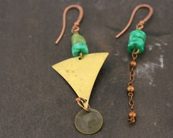 Mismatched earrings, on point, long, trendy jewelry, copper, brass, vintage.