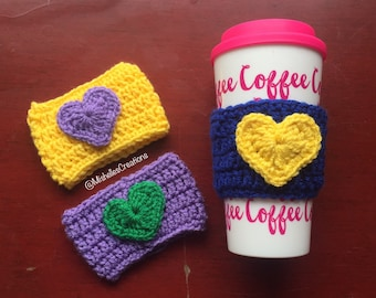 Crochet Coffee Cozy | Cup Cozy| Heart Cozy | Tea Cozy