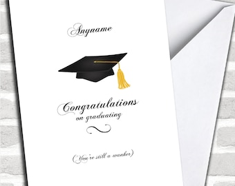 Funny Hat Wanker Personalised Graduation Card